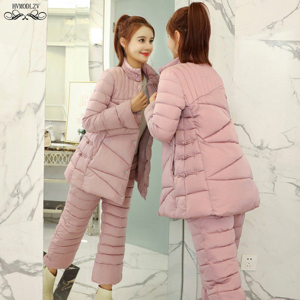 Women Winter Tracksuit 2019 New Standing Collar Jacket And Cotton Down Nine Pants Fashion National Style Suit Two-piece Set H207