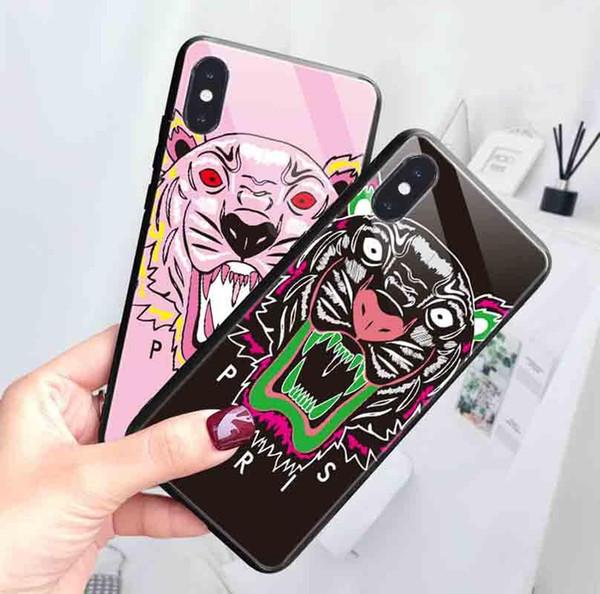 2019 della tigre di modo cassa del cellulare per IphoneXSMAX XR XS 7plus / 8plus 7/8 6s / 6sp6 / 6s vetro temperato di protezione della copertura posteriore della cassa del telefono 2 Styles