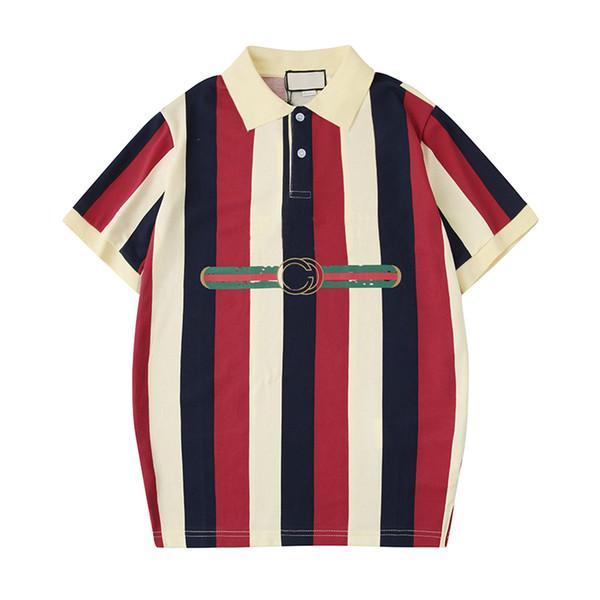 2019 Mens Designer Polo Shirts Lettre Imprimer Rayé D'été À Manches Courtes T-shirts De Mode Casual Blouse Polos Tops Tees S-2XL En Gros