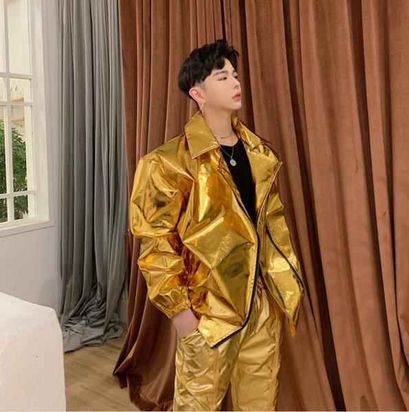 2019 new men's jacket gold silver glossy costume dj nightclub stage costume singer jacket hip hop