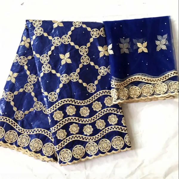 Базен Riche фирма getzner 2019 синего цвета фирма getzner Базен Riche с вышивка дизайн африканский ткань хлопок