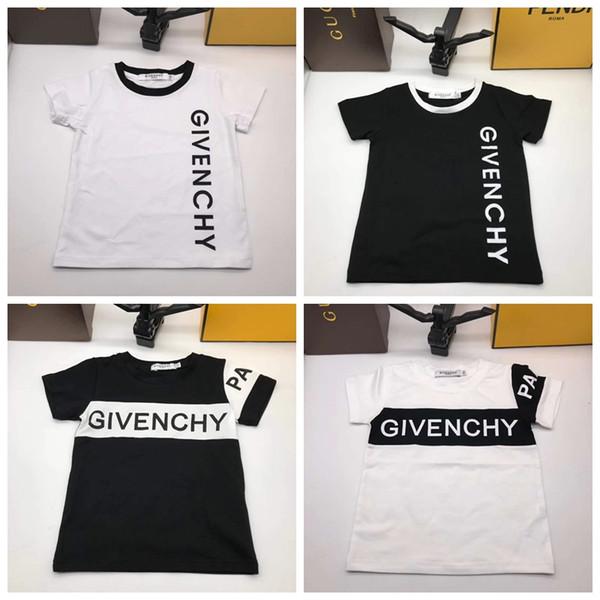 Bebê menina infantil roupas de grife para criança branco preto de manga curta t camisa menino vestido de moda verão menina roupas