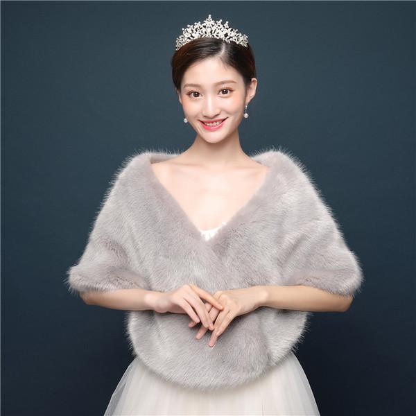 2019 Gray winter strips plush shawl bride wedding dress small coat wedding hair shawl a generation