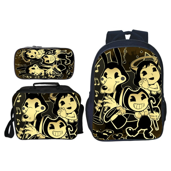 New 3Pcs/Set Hot Sale Cartoon Game Bendy and The Ink Kids School Bags for Children Backpacks for Boys Schoolbag Student Bookbag