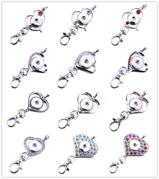 Noosa Snap Button Jewelry Beautiful Heart Snap Key Chains Crystal 18MM Snap Button Keychains Key Rings Keyring for Women