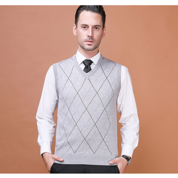 Asian Size Men's Wool Sweater Pullover Sleeveless Basic Knit Vest Striped Stylish Fashion Casual V Neck 2017A-18