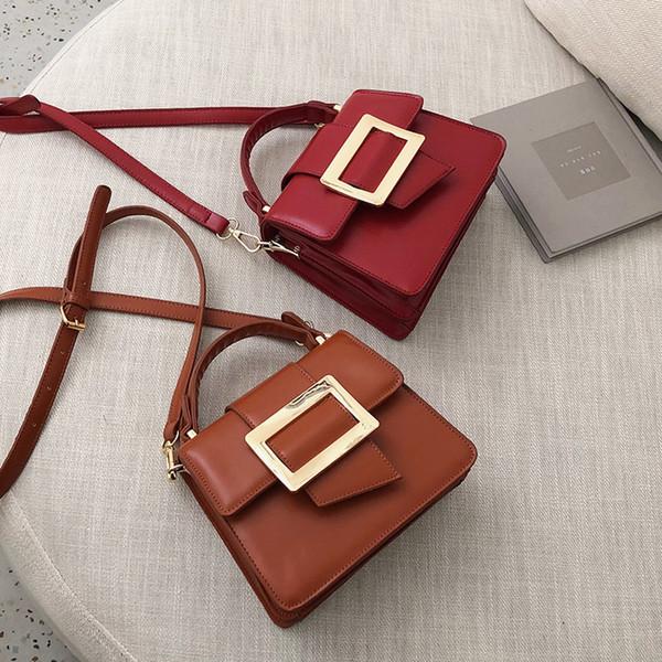 Einfacher PU-Leder-Frauen-Kurier-Beutel-Retro Quadrat-Verschluss-Schulter-Beutel für Frauen-Leder-Top-Griff Damen Handtaschen
