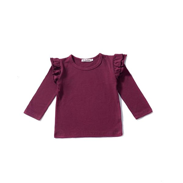 Girl Long Sleeves T-shirt Kids Bottoming Shirt Round Collar Children Solid T-shirt European and American Style 32