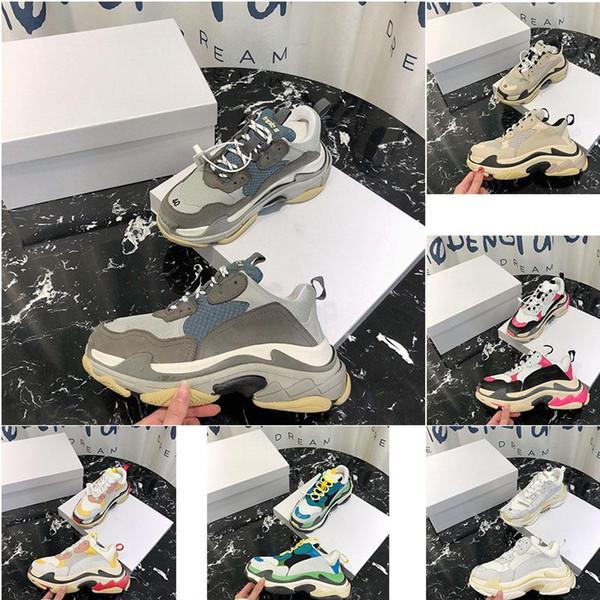 2018 designer Paris 17FW Triple-S scarpe da uomo casual e scarpe da donna nere beige 36-45