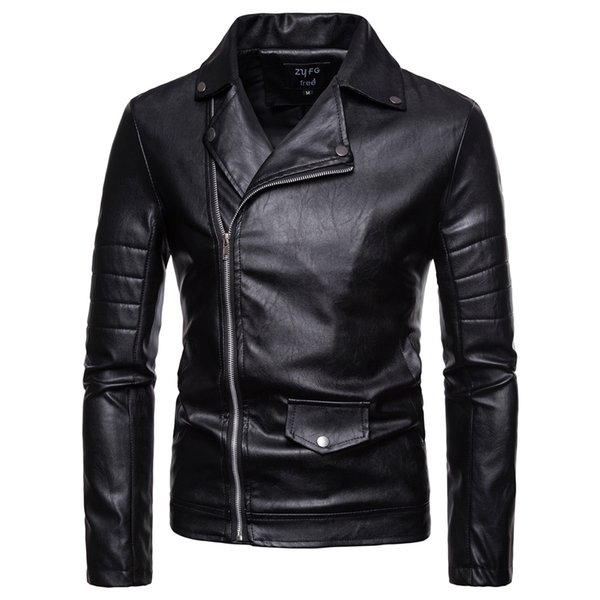 2018 autumn European and American style men's solid color diagonal zipper cardigan lapel leather men leather jackets