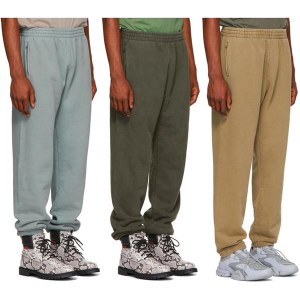 Sseaon6 Calabasas Pant Solid Beam Cotton Hip Hop Harem Sweatpants Couple Lovers Kanye West Thick Fleece Pants Men Cloth C19041201