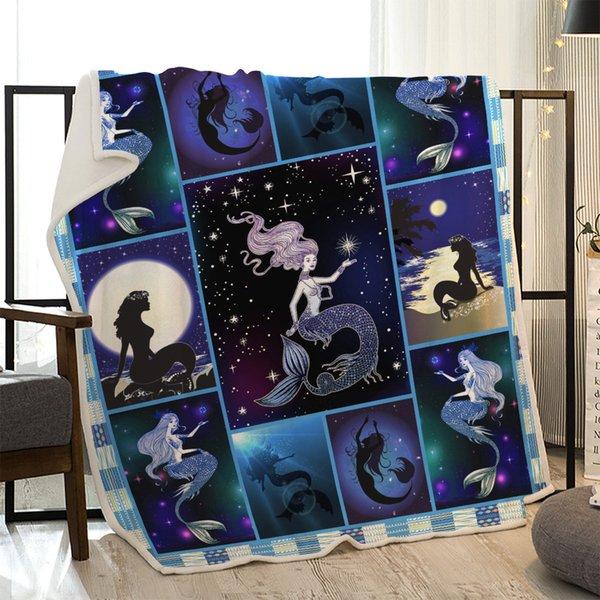 Personalizado Blanket sereia dos desenhos animados Para Adultos Bebés Meninas crianças na cama Sofá portátil Animais do piquenique do verão da manta Throw Blankets