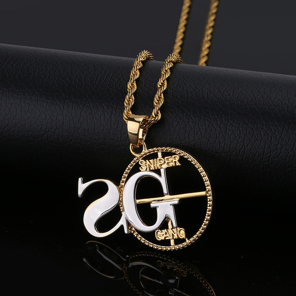 Sniper gang Euramerican personality man pendant plated two-color hip-hop trendy street necklaces