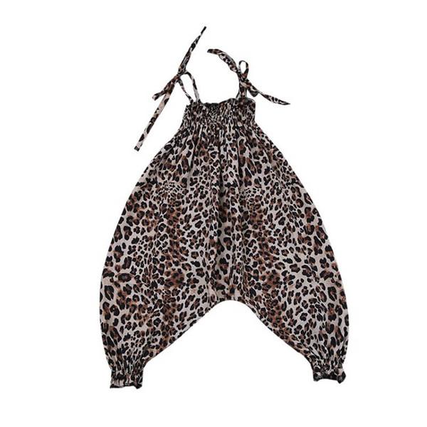 Nouveau léopard filles bretelles enfants bretelles bretelles enfants vêtements d'été filles combinaison enfants vêtements de designer filles pantalon de plage A5697