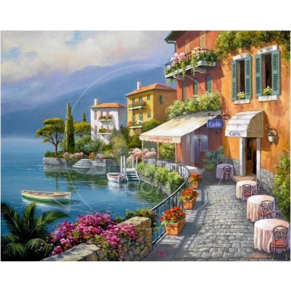 Mediterranean Landscapes paintings by Sung Kim Seaside Bistro Cafe hand painted canvas art High quality