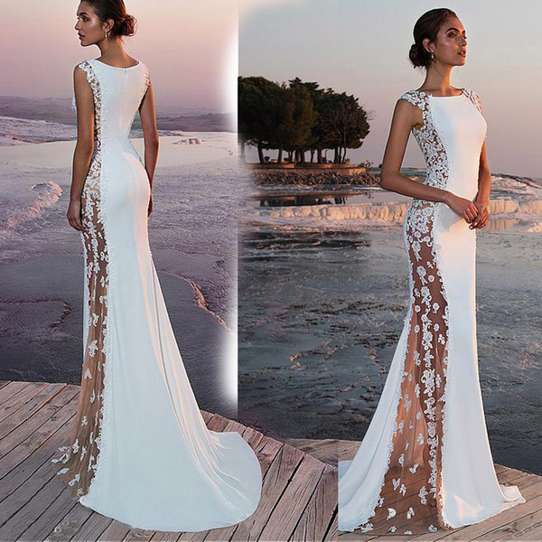 2019 white African Mermaid Prom Dresses Long Lace Off Shoulder Long Sleeves See Through Sweep Train Formal Evening Party Wear Gowns