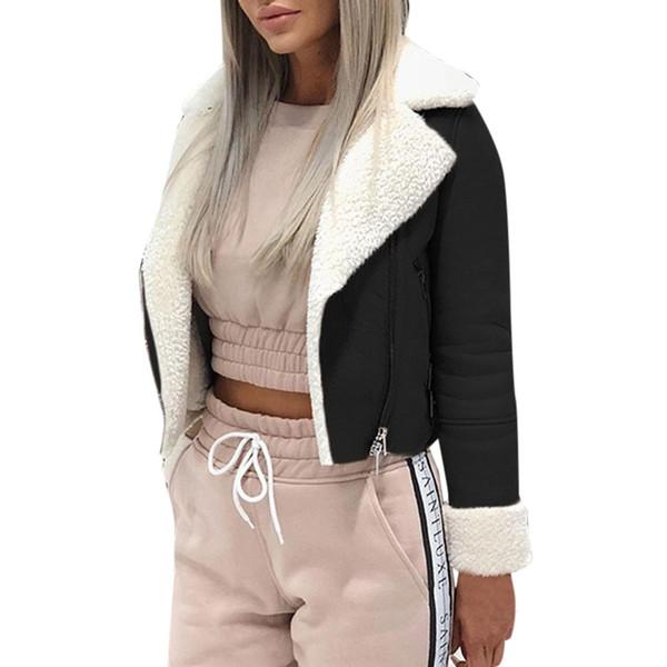women's autumn jacket Lapel Suede Leather Buckle Cool Pilot Jacket Faux Lamb Wool Motorcycle Jackets casaco feminino jas dames