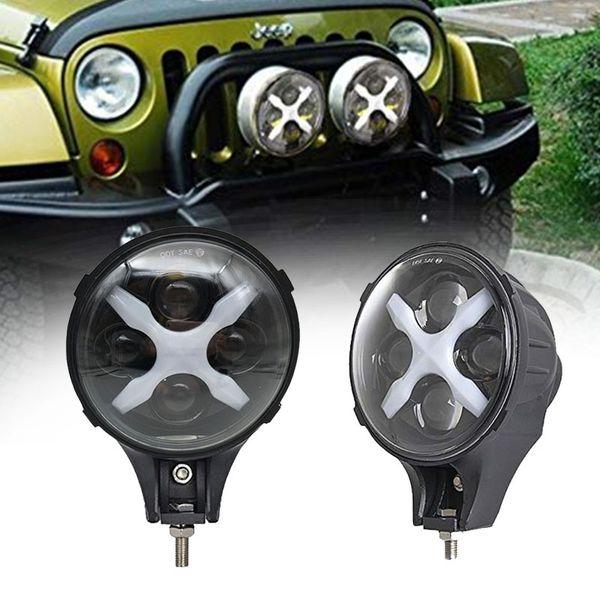 Coppia 60W Faretto Led / Fendinebbia Luce da lavoro Bar Per Jeep Wrangle Camion SUV Off Road 4X4 Con Bianco X DRL / Angle Eyes