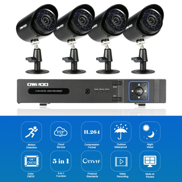 OWSOO 4CH 1080P 5-in-1 Digital Video Recorder + 4*720P AHD IR CCTV Camera + 4*60ft Surveillance Cable for CCTV Security System