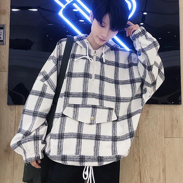 Kore Ekose Hoodies Erkekler Retro Streetwear Gevşek Kazak Hip Hop Adam Vintage Hoodie Siyah Adam Vintage Erkekler Kazak Hoodies
