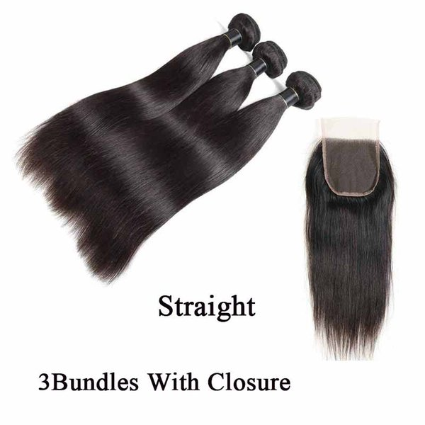 Brazilian Human Hair Bundles With Closure Straight Nature Black Peruvian Virgin Hair Weaves With Lace Closure Cheap Hair Extensions Wefts