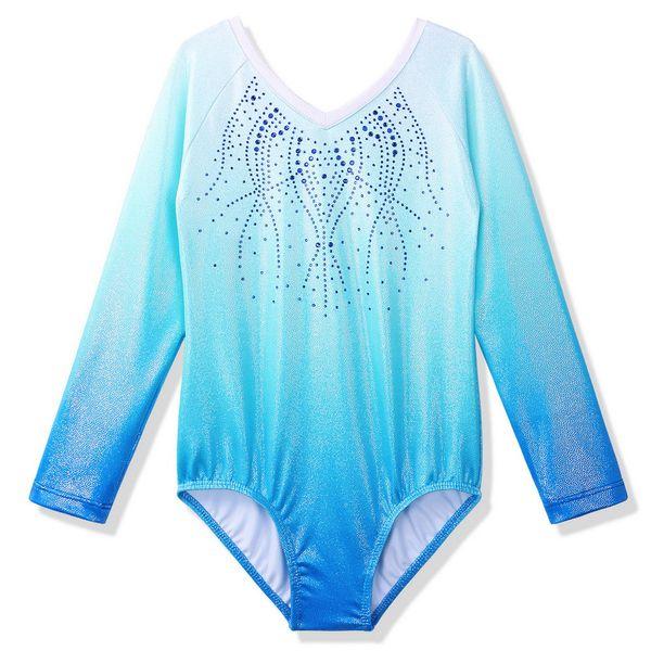 BAOHULU ToddlerTeens Filles justaucorps pour enfants Gymnastique Ballet manches longues diamant Leotard costume de danse 3-14 ans