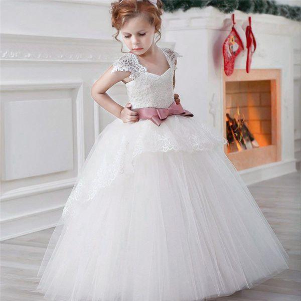 Formal Elegant Teenager Girl Lace Kids Dresses for Girls White Party Dress Long Prom Gown Vest Sash Dress For Girls 6-14