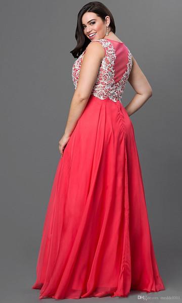 Plus size vestidos de baile longo vermelho apliques mangas jóia pescoço até o chão cutsom design exclusivo lace wear vestido de festa moda nos eua