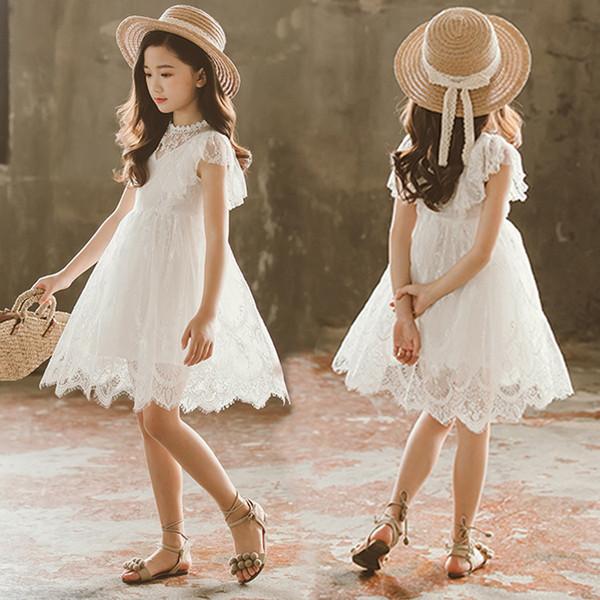 2019 new big girls lace dress flor de renda branca bordar crianças princess dress verão doce crianças vestidos de festa fit 3-12 t
