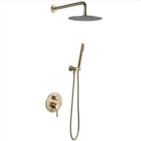 Soffione da doccia fisso in oro spazzolato 10