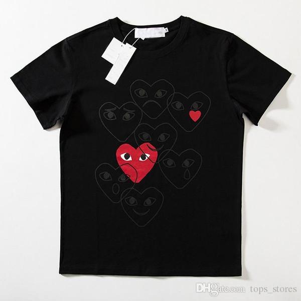 Love Box LOGO19 Марка Классический Красное Сердце Pattern Печати Пара Мода Высокого Качества Хлопка Футболка Дизайнер Бесплатная Доставка