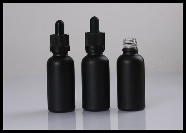 30ml Black Frosted Glass Bottles With Childproof Tamper Cap And Glass Tube Dropper Essential Oil Bottles