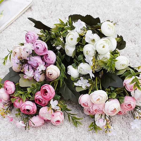 10heads Mini Spring Peonies Silk Artificial Flowers Tea Rose Flores Fleur Artificielles For Home Table Decoration Fake Flower