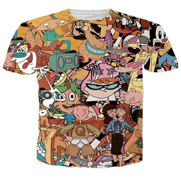 2019 Classique Personnage De Bande Dessinée Simpson Nouveau Mode Chaud T-shirt 3D Imprimer Hommes / Femmes Unisexe Été Col Rond À Manches Courtes Hauts Casual K940