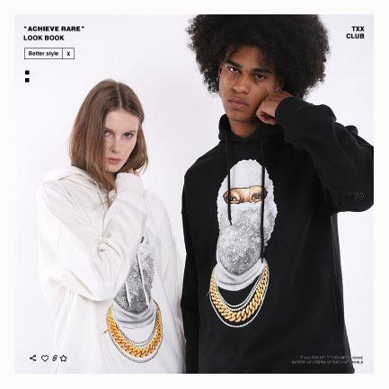 Felpe con cappuccio da uomo firmate Abbigliamento Hiphop di lusso Moda Maglione da uomo mascherato alla moda Abiti da uomo larghi alla moda 2019 Nuovi 2 stili per Opzionale