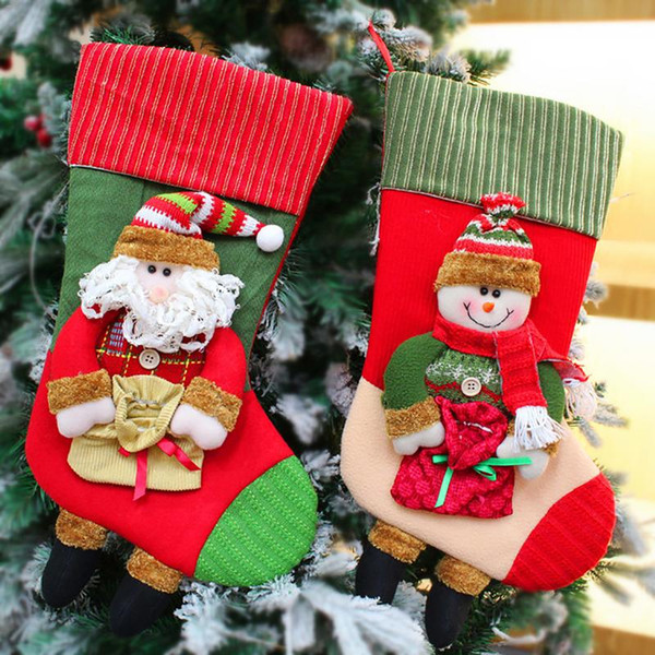24 styles christmas stocking Christmas Decorations For Home hanging socks Santa Claus Candy Bag Gift bags Ornament