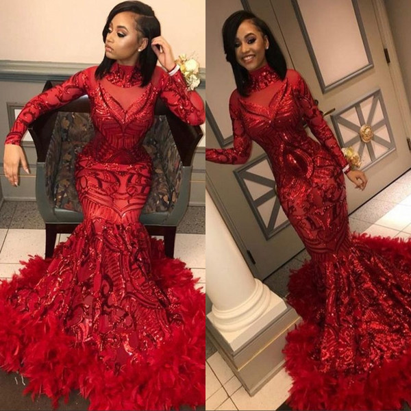 Red Mermaid African Prom Dresses 2019 New Feather Long Sleeve Floor Length Sequined High Neck Formal Evening Dress Party Gowns