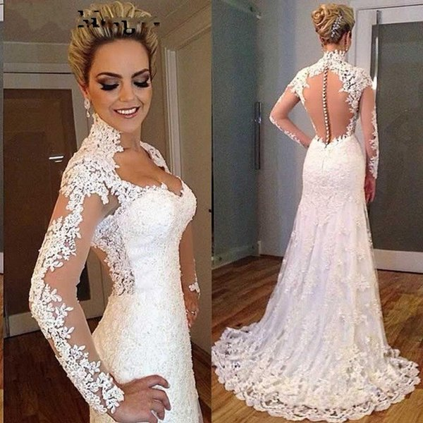 Vintage Mermaid Long Sleeves Wedding Dresses 2019 Illusion Lace Sexy Sweetheart Cheap Backless Lace Bridal Gowns Sweep Train