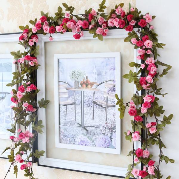 Mode 230 cm De Mariage Décorations Faux Soie Roses Lierre Vigne Fleurs Artificielles Avec Des Feuilles Vertes Guirlande Suspendue Pour La Décoration