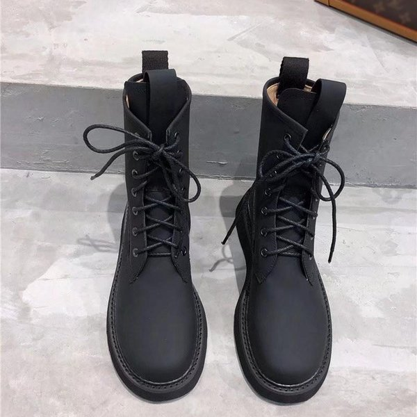 Hot Sale- luxury designer women shoes BOOTS IN STORM CUIR martin boots chaussures pour femmes lace up booties bottillons women's boots