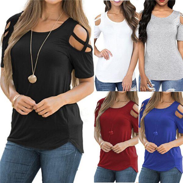 Frauen Hemden Weibliches Hemd Lässige T-shirts für Frauen Neue Ankunft Aushöhlen Reine Farbe Baumwollmischung Mid-long Tees Sommer Straße Rundhalsausschnitt