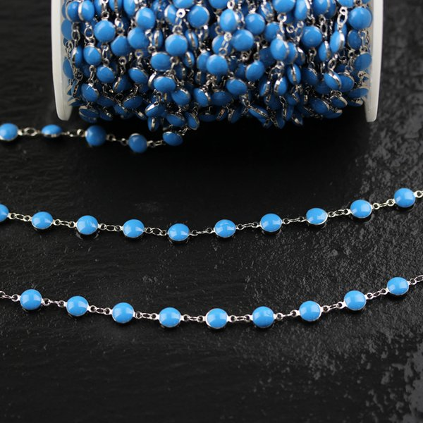 7mm,Blue Lampwork Glass Flat Round Beads Chains,Silver Plated Copper Links Jewelry for Bracelets Necklace