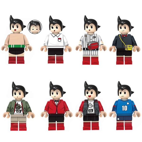Newest 8pcs Lot Japanese Anime Cartoon Tetsuwan Atom Astro Boy Mini Toy Action Figure Building Block Toy For Children