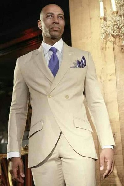 Summer Khaki Mens Dinner Party Prom Suit Groom Tuxedos Groomsmen Wedding Blazer Suits For Men Stylish (Jacket+Pants+Vest)