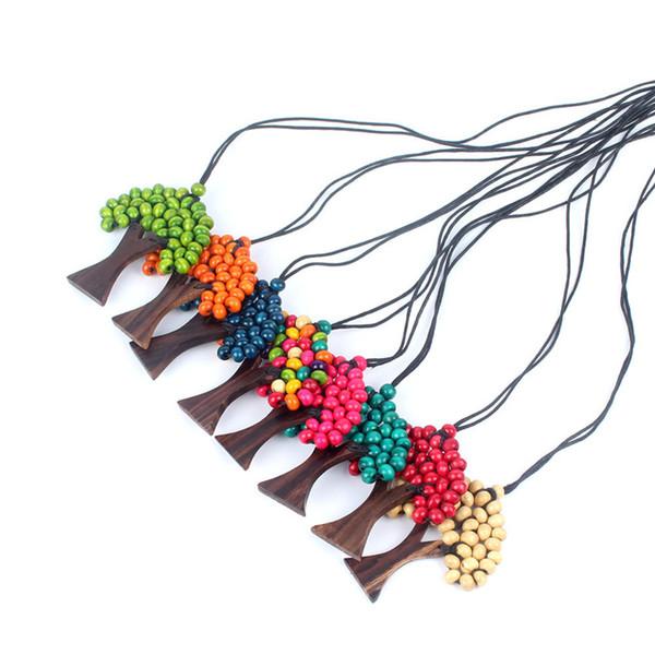 Bohemian Arco Íris Árvore da Vida Colar para As Mulheres Handmade Contas De Madeira Corda de Cera Longo Pingente Presente Jóias Étnicas LJJS145