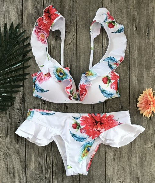 Costume da bagno da donna FashionFantastic Costume da bagno da donna Trikini Boemia Bikini push-up imbottito Monokini Estate Beach Wear Bikini in pizzo Costume da bagno floreale