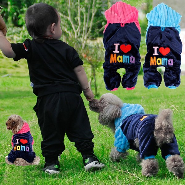 Pet Clothes Puppy Flannel Winter Hoodie Sweater Dog Coat Warm Sweatshirt Love Mama Printed Dog Clothing