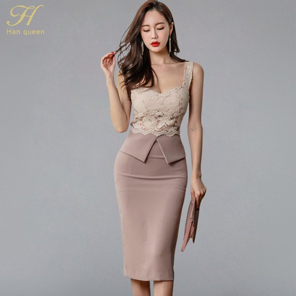 H Han Queen Halter Strapless Summer Ol Lace Pencil Dress 2018 New Fashion Sexy V Collar Sleeveless Vintage Club Party Dresses Y19051001