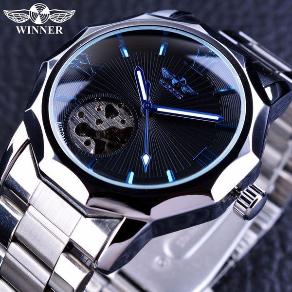 Winner Blue Ocean Geometry Design Stainless Steel Luxury Small Dial Skeleton Mans Watches Sport Luxury Fashion Brand Automatic Wrist Watch