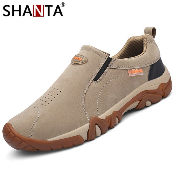 Shanta 2019 New Men Shoes Genuine Leather Loafers Breathable Spring Autumn Casual Shoes Outdoor Non Slip Men Sneakers MX190730
